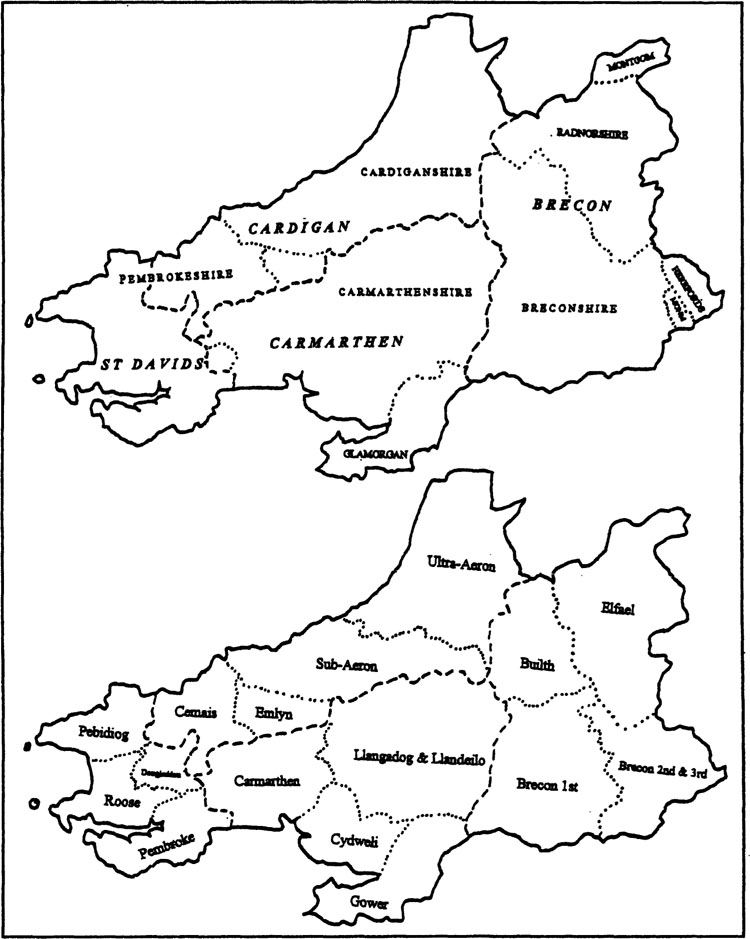 Map 11. Diocese of St Davids showing (a) COUNTIES, ARCHDEACONRIES and Deaneries