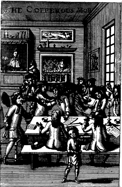 Fig. I. The Coffehous Mob, anonymous woodcut. ©The Trustees of the British Museum.