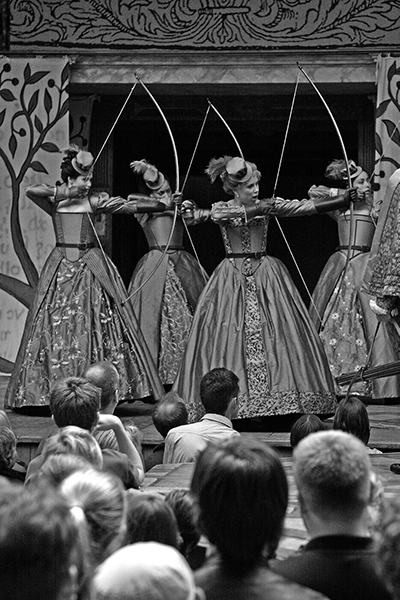 1 Evoking the legendary Roman hunter Diana, the Princess and her ladies display their power through archery in a 2009 Shakespeare's Globe production (London), dir. Robert Faires.