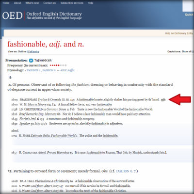 OED-fashionable