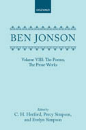 Ben Jonson, Vol. 8: The Poems; The Prose Works