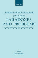 John Donne: Paradoxes and Problems
